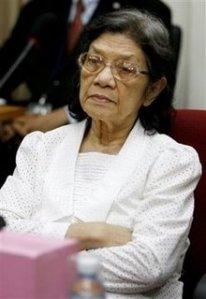 """Ieng Thirith, exministra de acción social de la Kampuche Democrática y llamada """"la primera dama de los jemeres rojos""""."""