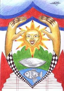 El maestro uruguayo Luis Haro envía este dibujo para unirse a la alegría del año nuevo jemer. Un dibujo que reune todo lo que significa Camboya.