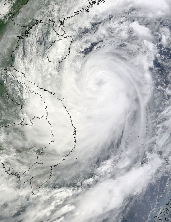 Aspecto de la tormenta tropical Ketsana que golpeó el sudeste asiático durante la última semana de septiembre. Foto satelital de la Nasa.