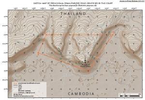 Localización de la zona desmilitarizada creada alrededor del Templo por la Corte Internacional de Justicia.