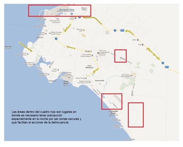 Mapa de Sihanoukville con lugares peligrosos