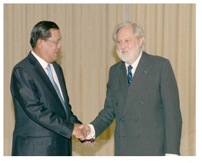 Samdech Hun Sen and Lord Puttman in October 2014 in Phnom Penh Cambodia UK relations