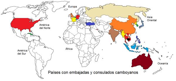 Países con embajadas y consulados camboyanos